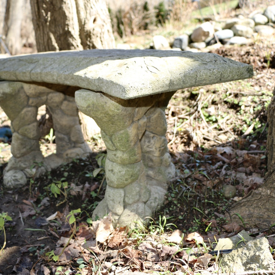 Concrete Outdoor Bench with Stacked Stone Pier Style Legs
