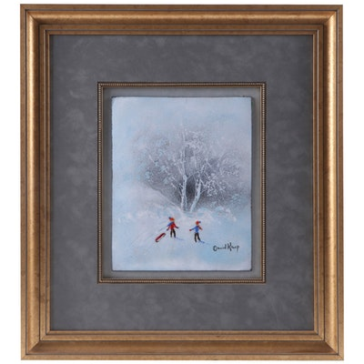 David Karp Enamel on Copper Painting of Children Playing in Snow