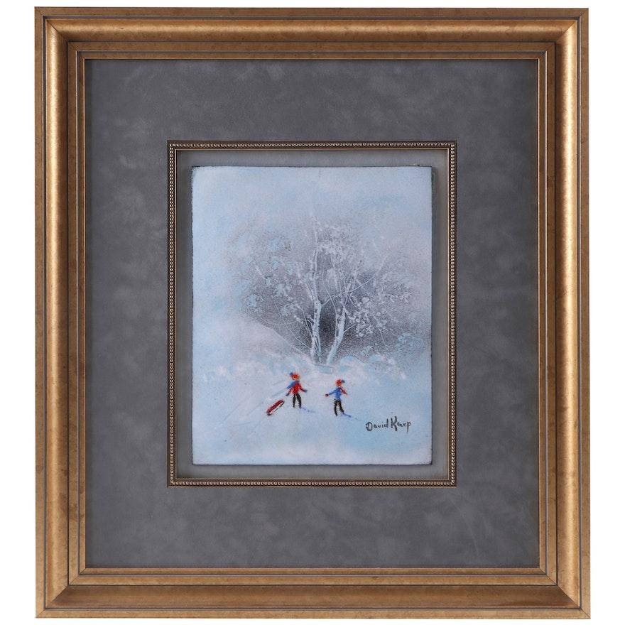 David Karp Enamel on Copper Painting of Children Playing in Snow