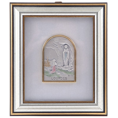 Italian Sterling Silver with Hand-Painted Accents Our Lady Lourdes Plaque