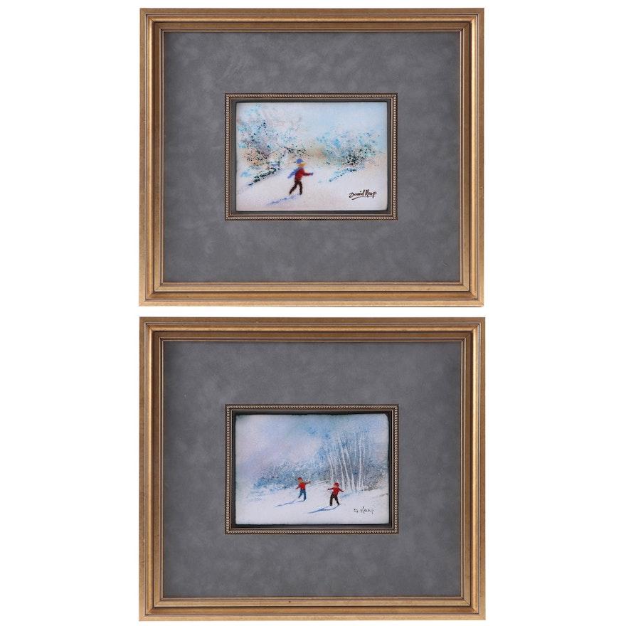 David Karp Enamel on Copper Paintings of Children Playing in Snow