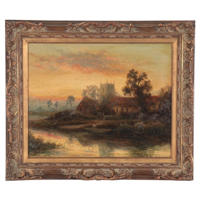 William Langley Landscape Oil Painting of Rural British Scene, Late 19th Century