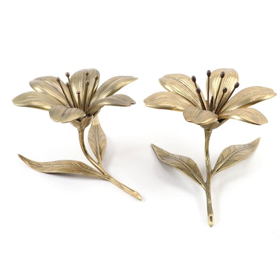 Mid Century Modern Brass Tulip Form Ashtrays with Pipe Cleaner Centers