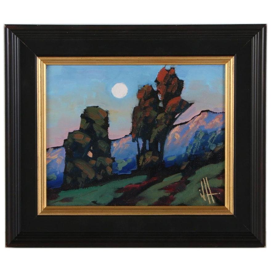 William Hawkins Oil Painting of Moonlit Landscape, 2021