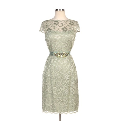 Teri Jon Light Green Lace Cap Sleeve Dress with Embellished Waist