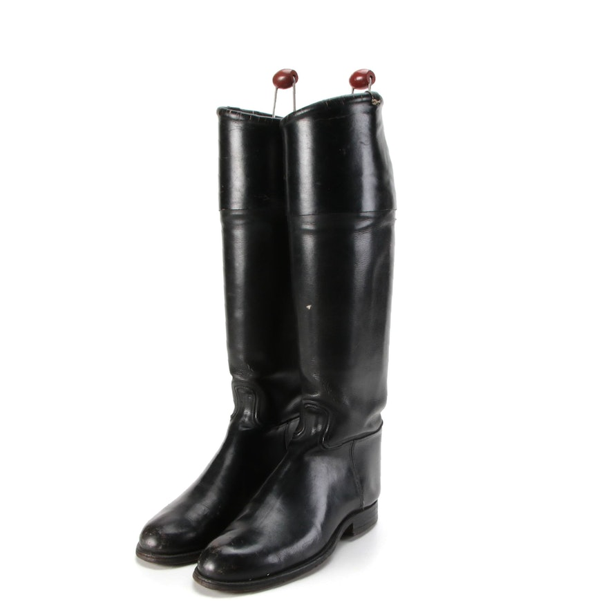 Black Leather Equestrian Style Boots