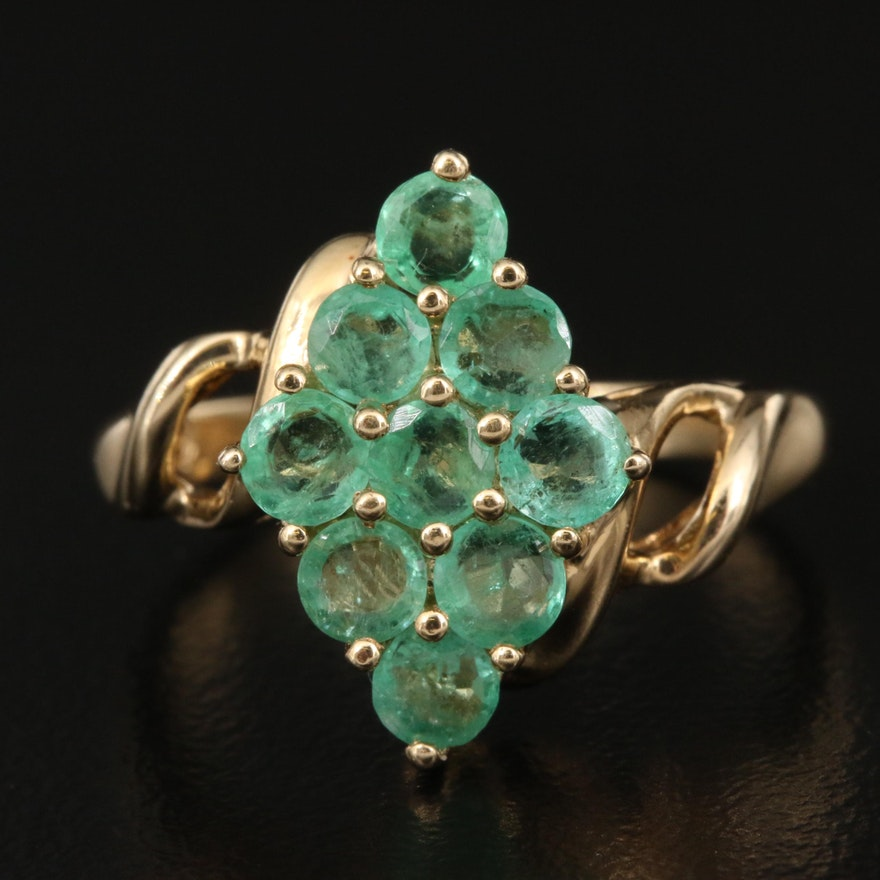 14K Emerald Bypass Cluster Ring