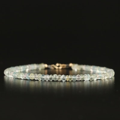 Aquamarine, Morganite and Heliodor Strand Bracelet with 10K Clasp