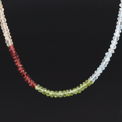 Aquamarine, Peridot and Garnet Beaded Necklace with Sterling Clasp