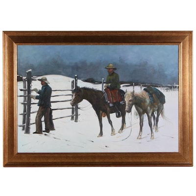 Oil Painting of Figures and Horses in Snow