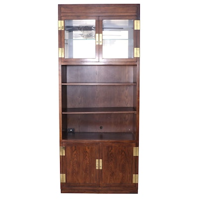 Henredon Scene One Campaign Style Oak Bookcase Display Cabinet, Late 20th C.