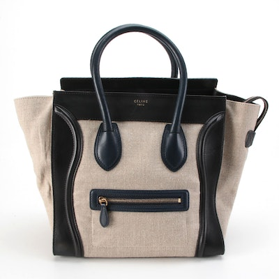 Céline Micro Luggage Canvas Trapeze Bag in Canvas Textile and Leather