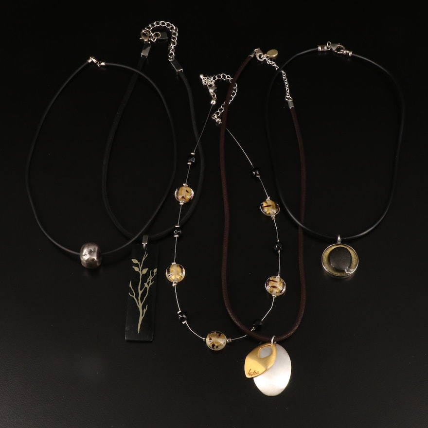 Pendant Necklaces Including Sterling, Glass and Leather