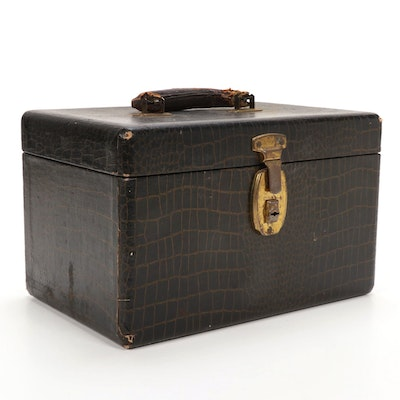 Hard Shell Croc-Embossed Train Case with Leather Handle