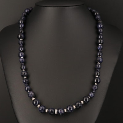 Sterling Goldstone Glass and Cubic Zirconia Necklace