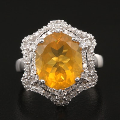 18K 3.28 CT Opal and Diamond Ring