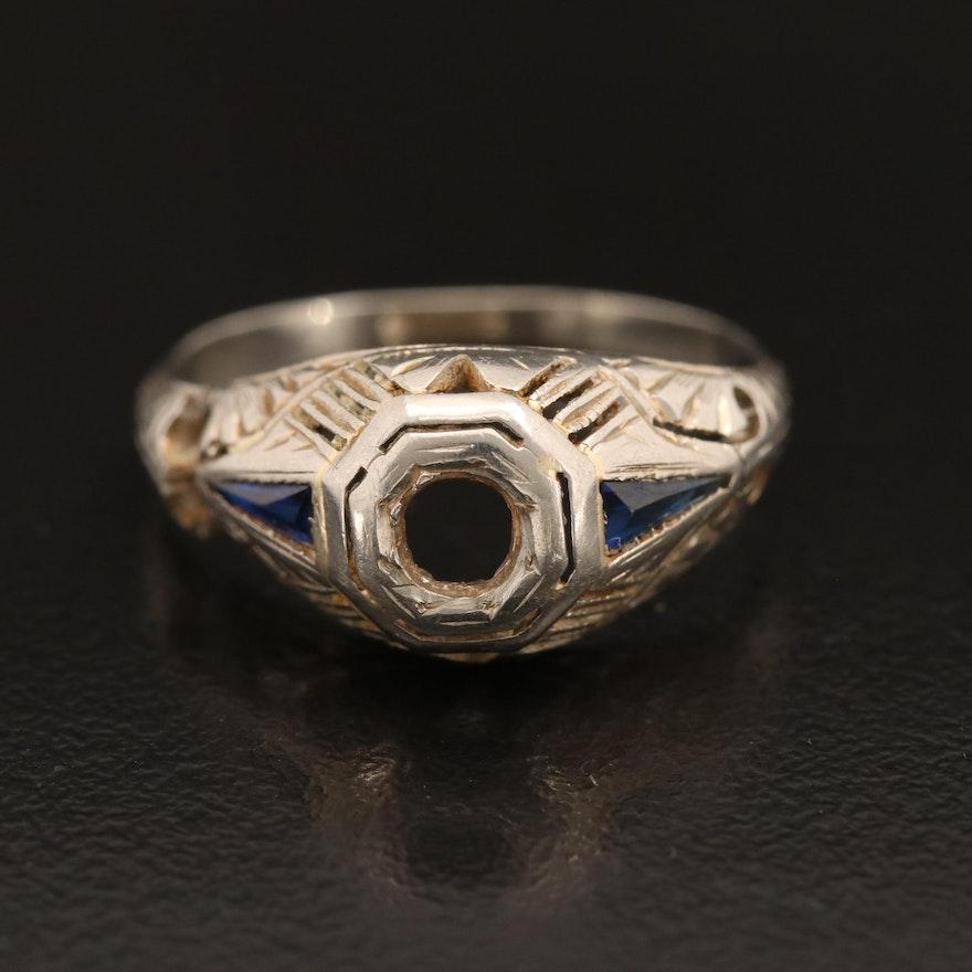 Scrap 14K  Sapphire Semi-Mount Ring