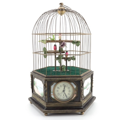 European Automaton Bird Cage with Enamel Face Clock and Porcelain Vignettes