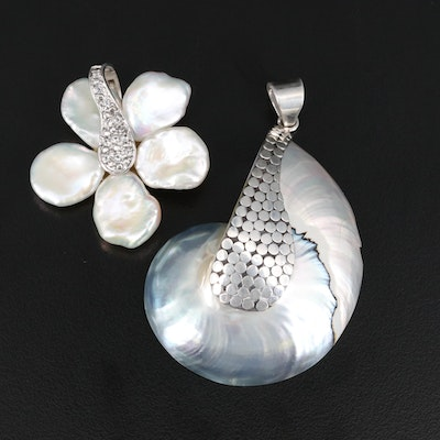 Sterling Silver Pearl and Topaz Floral Enhancer and Shell Pendants