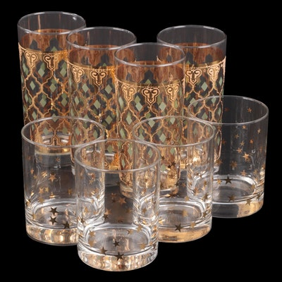"Culver ""Valencia"" Tumblers and Star Pattern Double Old Fashioned Glasses"