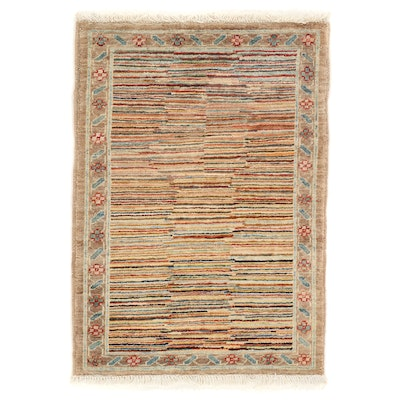 2'1 x 3' Hand-Knotted Afghan Gabbeh Wool Accent Rug
