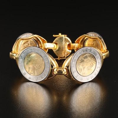 Italian Milor Bronze Bracelet with Italian  500-Lire Coins