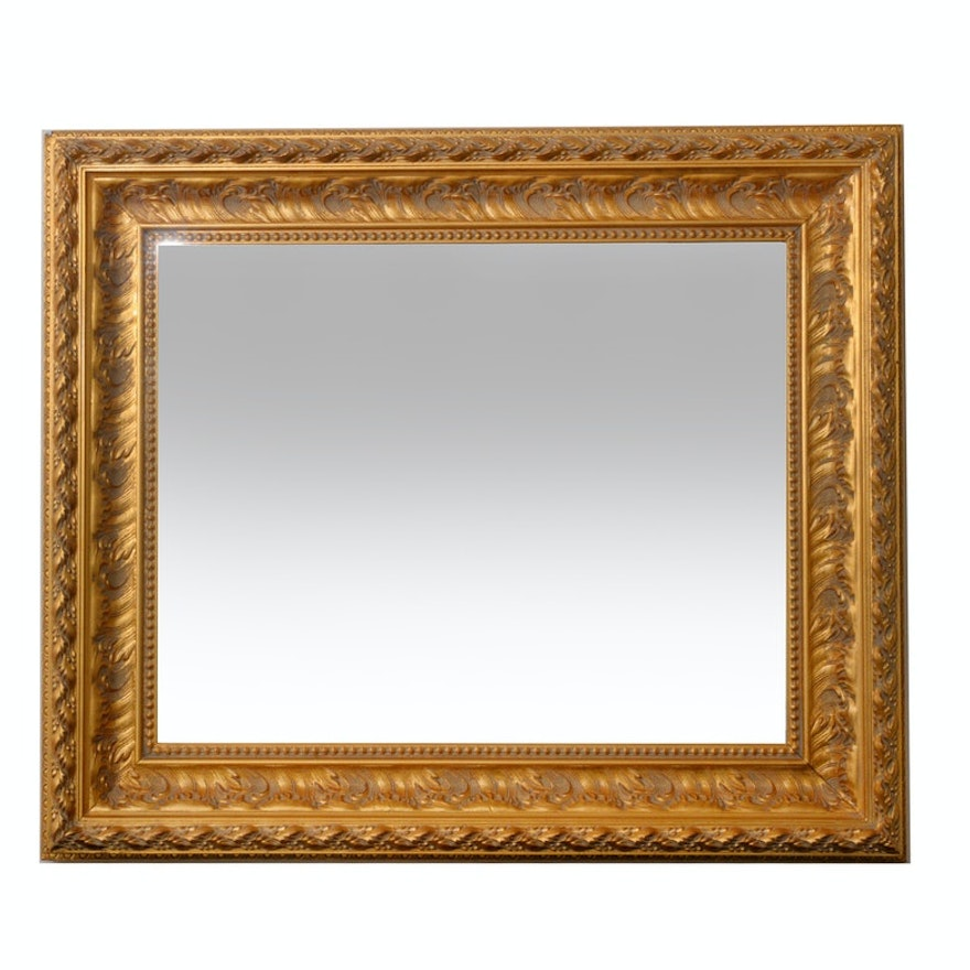 Gilt Composition Rectangular Wall Mirror, Mid to Late 20th Century