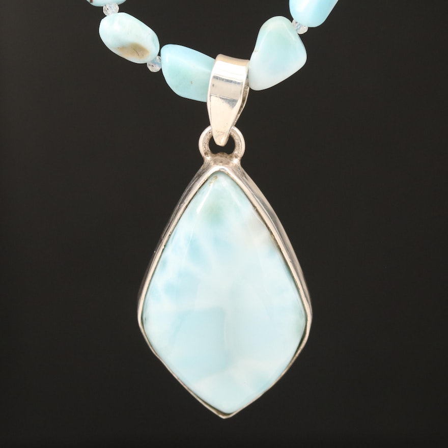 Sterling Larimar and Topaz Pendant Necklace