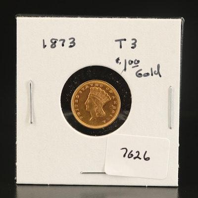 1873 Indian Princess Head Type 3 Gold Dollar
