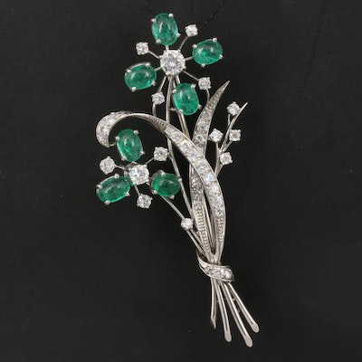 Platinum Emerald and 2.07 CTW Diamond Floral Brooch