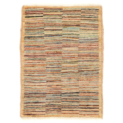 2'1 x 2'10 Hand-Knotted Afghan Gabbeh Wool Accent Rug