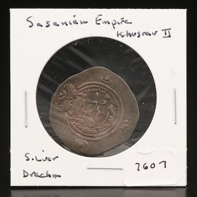 Ancient Sasanian AR Drachm of Khusro II, ca. 591 AD