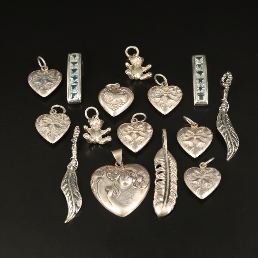 Sterling Pendants Including Topaz, Feather and Puff Heart Pendants