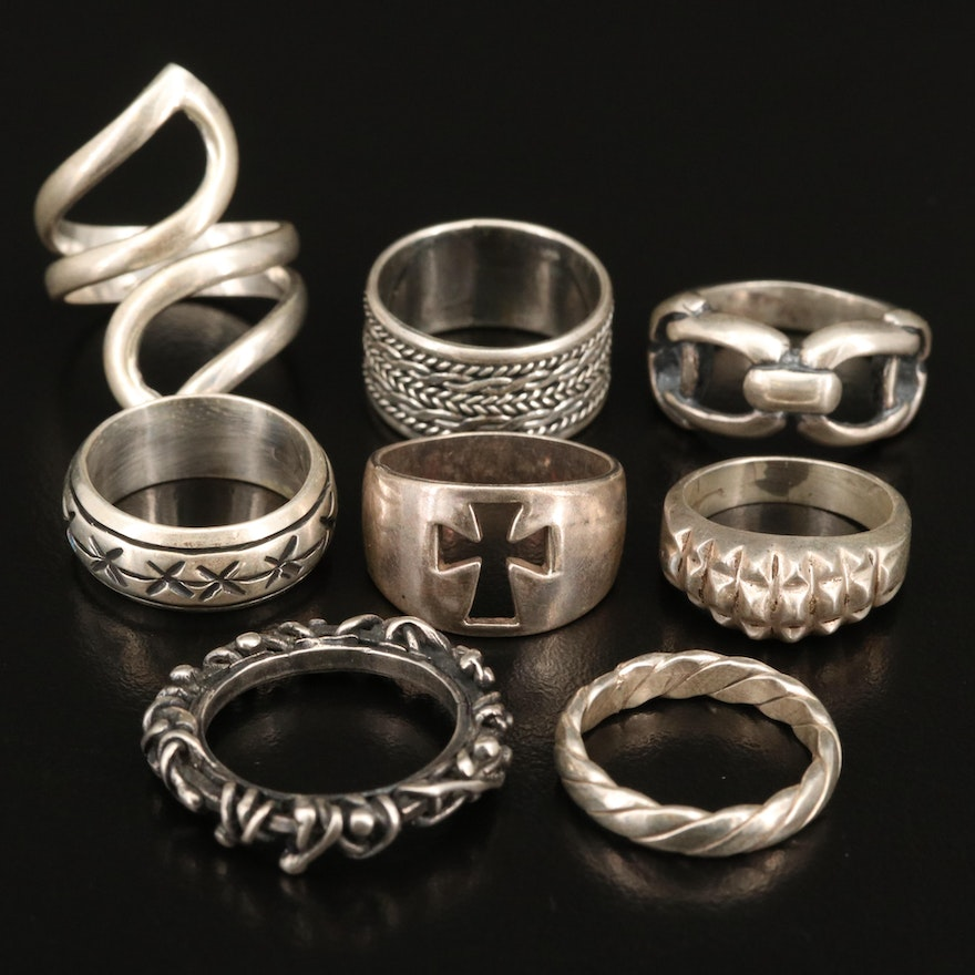 Sterling Silver Rings Including Cross, Rope and Bypass Designs