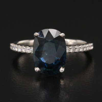 Platinum 4.33 CT Sapphire and Diamond Ring