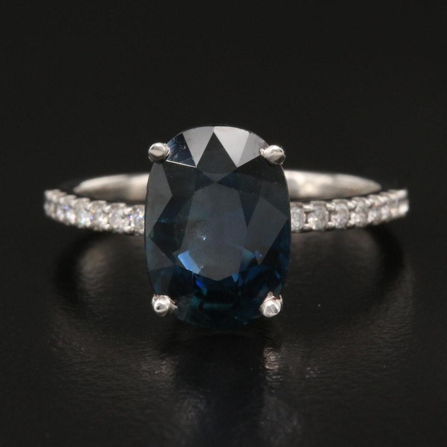Platinum 4.33 CT Sapphire and Diamond Ring