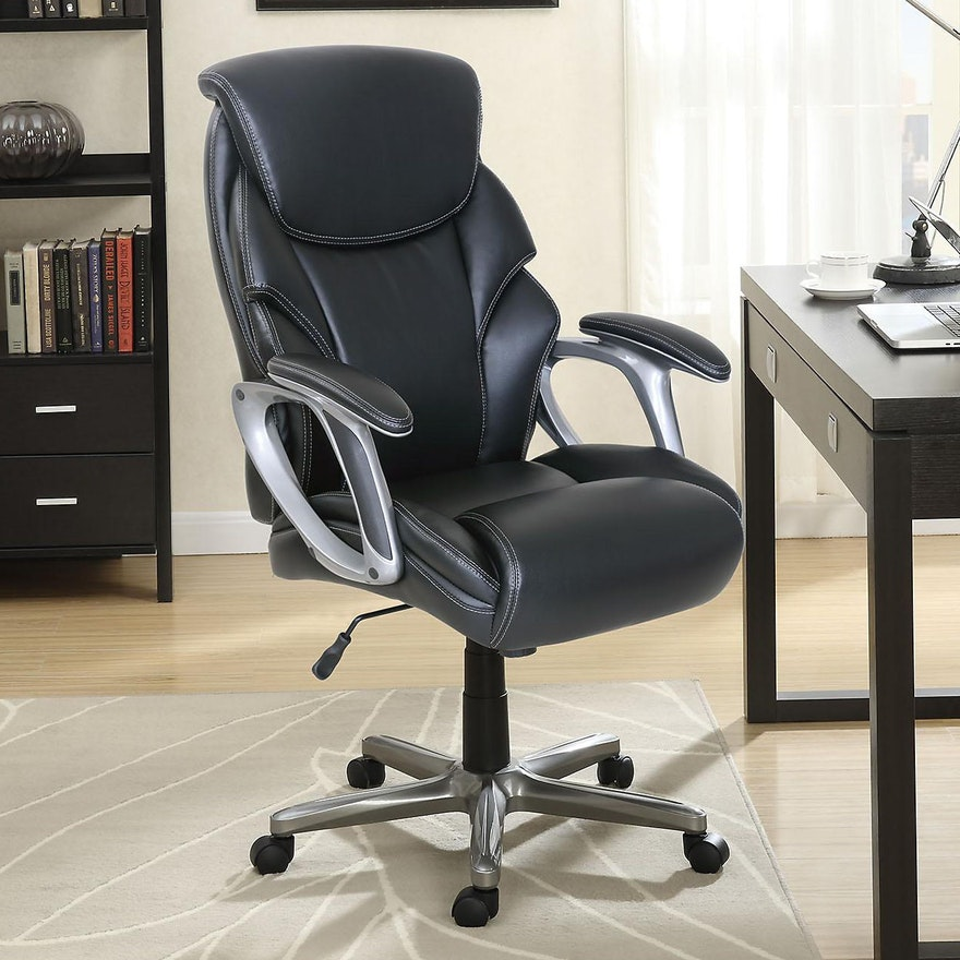 Serta Grey Bonded Leather Manager's Office Chair with Memory Foam Cushioning