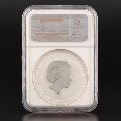 NGC Graded MS70 2015-P Early Release Reverse Proof Australian Silver Dollar