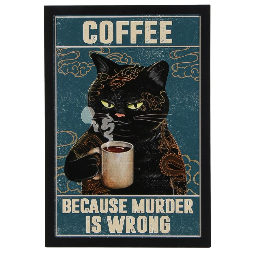 Giclée of a Black Cat Drinking Coffee, 21st Century
