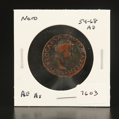 Ancient Roman Imperial AE As Coin of Nero, ca. 66 AD