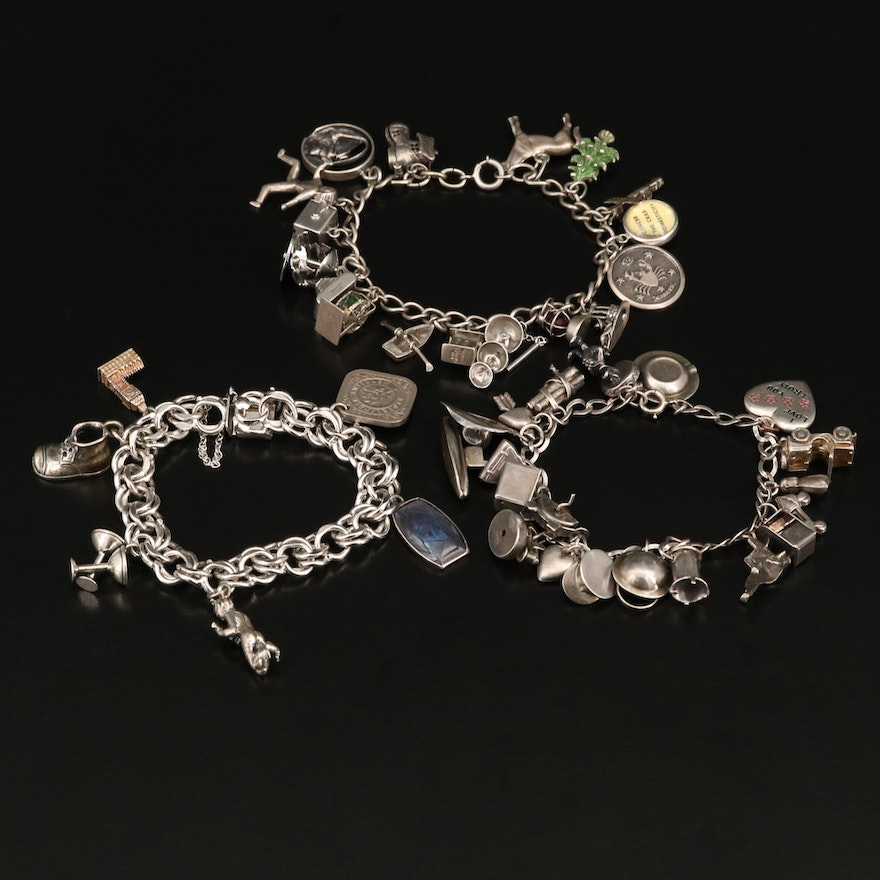 Sterling Charm Bracelets with Cancer Zodiac, Puff Heart and Big Ben Charms