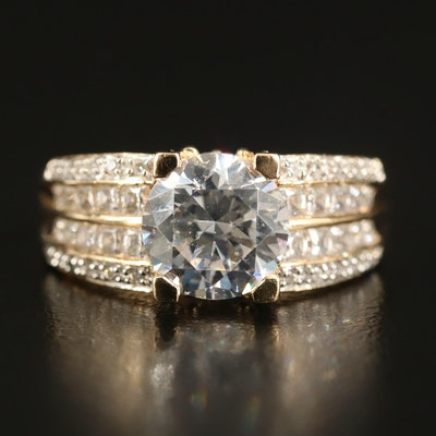 14K Cubic Zirconia Ring with Open Gallery
