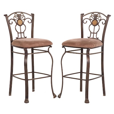 Contemporary Bar Height Wrought Metal Barstools
