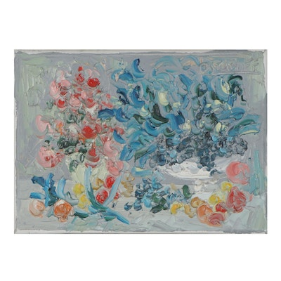 Jacques Ostapoff Abstract Floral Still Life Oil Painting