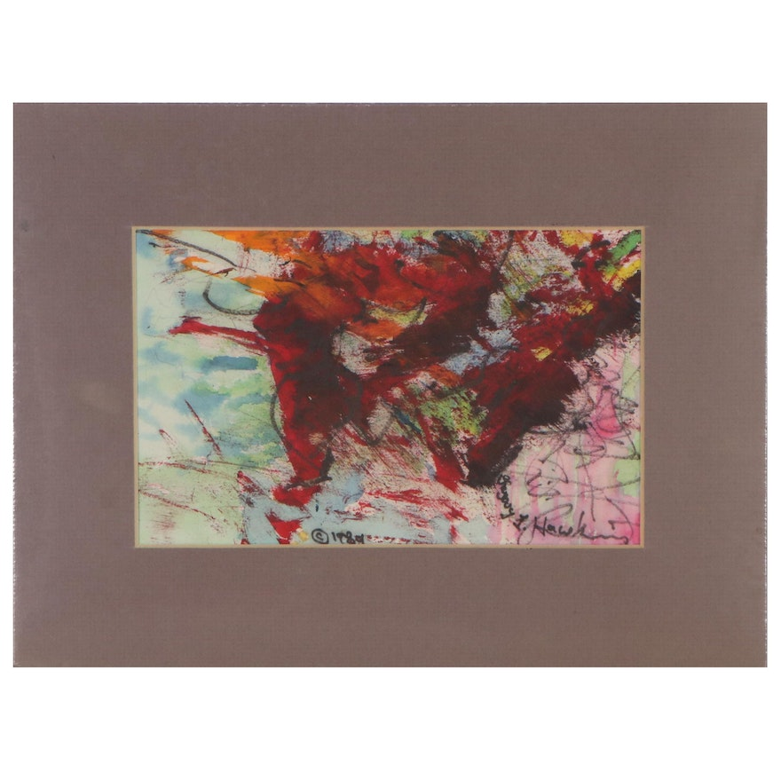 Gregory J. Hawkins Non-Objective Abstract Mixed Media Painting, 1989