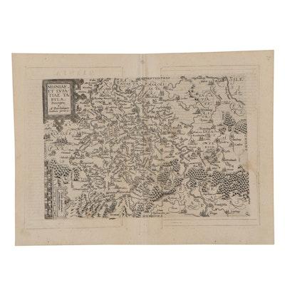 Matthias Quad Engraving Map of Eastern Europe, 1596