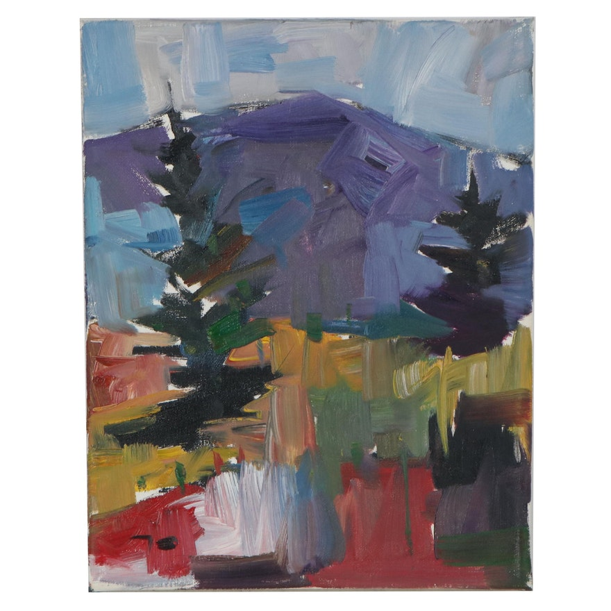 "Jose Trujillo Landscape Oil Painting ""Pine Morning,"" 2019"