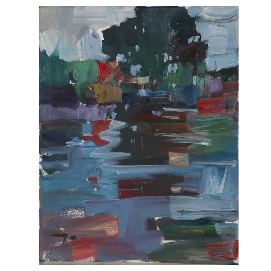 "Jose Trujillo Abstract Oil Painting ""Lake Reflections,"" 2019"