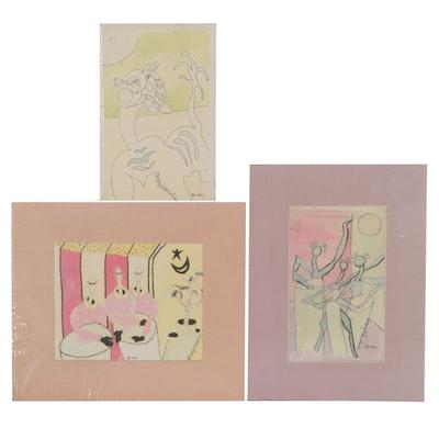 Gregory J. Hawkins Surreal Ink and Watercolor Paintings, 1989
