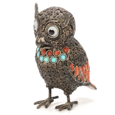 Tibetan Style Metal Owl Figurine with Inlay